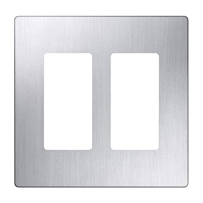 Lutron CW-2-SS Claro 2-Gang Decorator Screwless Wall Plate - Stainless Steel