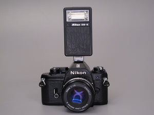Nikon EM Camera with 50mm f1.8 lens and Flash