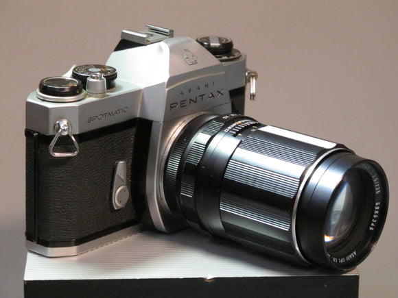 Pentax Spotmatic SP2 35mm camera (silver) with Takumar 135mm lens