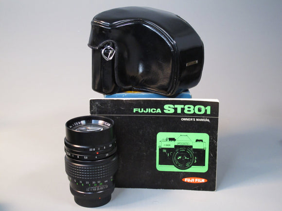 FUJICA ST801 35mm SLR camera with 55mm and 135mm lenses
