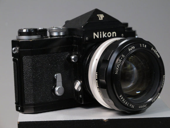 Black Nikon F 35mm Camera with NIKKOR-S 55mm f1.2 Lens