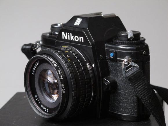 Black Nikon EM 35mm Camera with 50mm f1.8 lens