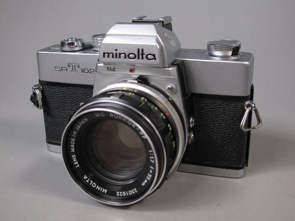 Minolta SRT102 35mm Camera with MC ROKKOR-PF 55mm f1.7 Lens