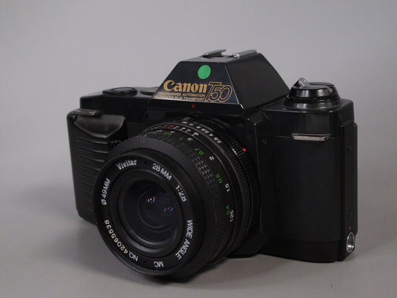 Canon T50 35mm Camera with Vivitar 28mm f2.8 Lens