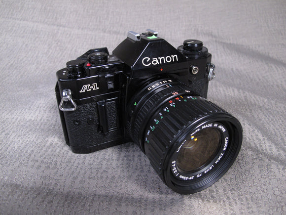 Canon A-1 35mm Camera with Canon Zoom FD 28-55mm f3.5-4.5 MACRO Lens