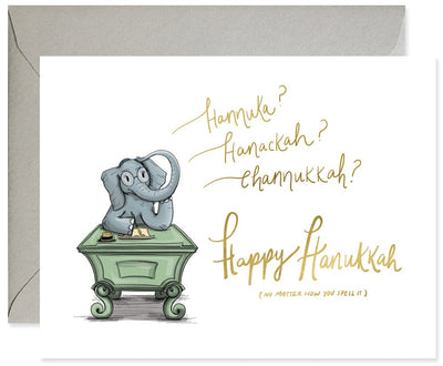 Good Juju Ink Hanukkah Spelling Ellie Greeting Card