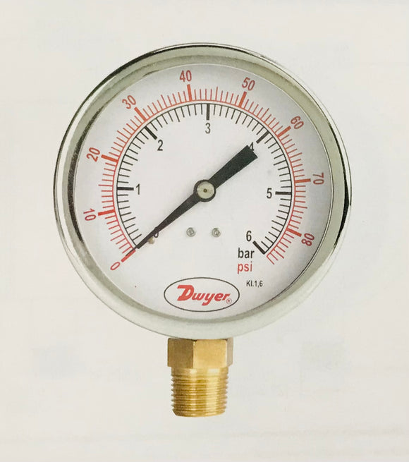 Dwyer 100mm Heavy Duty Brass Pressure Gauge