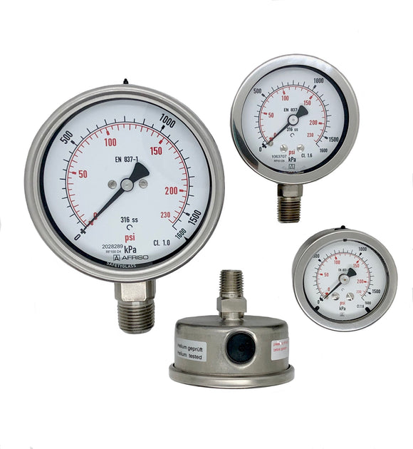 Afriso 100 mm All Stainless Steel Pressure Gauge