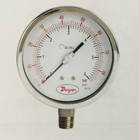 Dwyer 100mm All Stainless Steel Pressure Gauge