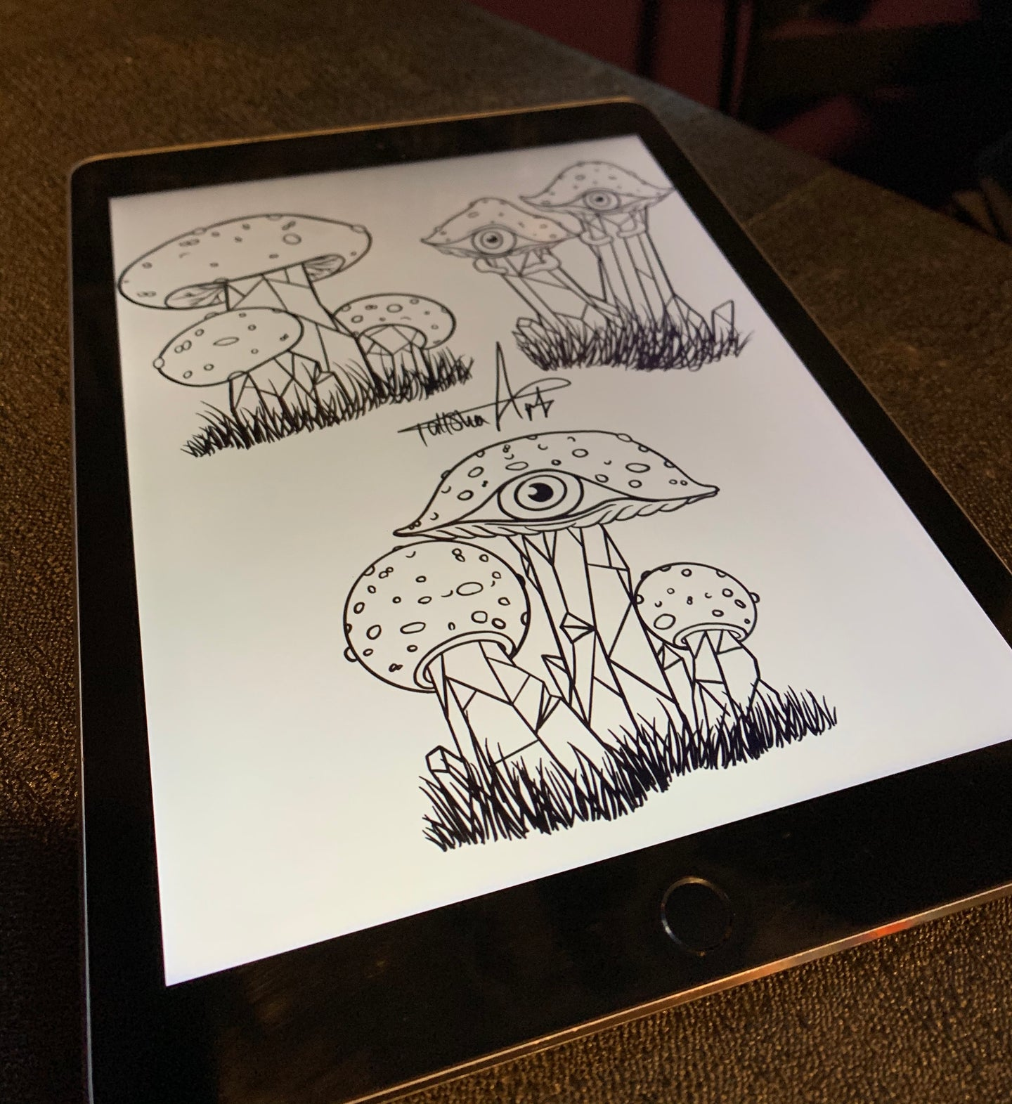 Digital Crystal Shroom Colouring Page