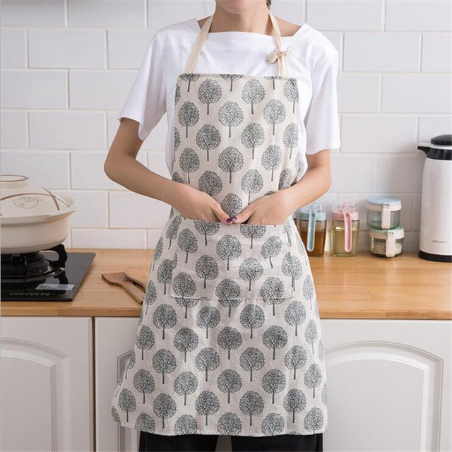 Nordic White Evergreen Kitchen Apron