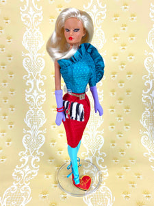 """Jewel Box Color Block in Sapphire & Ruby"" - OOAK Doll"
