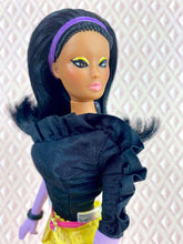 "Load image into Gallery viewer, ""Jewel Box Color Block in Black Diamond & Citrine"" - OOAK Doll"