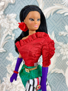 """Jewel Box Color Block in Ruby & Emerald""  - OOAK Doll"