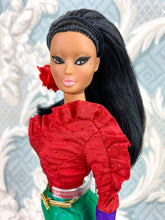 "Load image into Gallery viewer, ""Jewel Box Color Block in Ruby & Emerald""  - OOAK Doll"