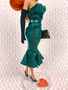 """Hollywood Coquette in Green Lace"" - OOAK Doll"
