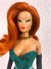 "Load image into Gallery viewer, ""Hollywood Coquette in Green Lace"" - OOAK Doll"