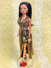 "Load image into Gallery viewer, ""Pleated Plunge in Gold"" OOAK Doll"