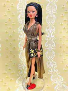 """Pleated Plunge in Gold"" OOAK Doll"
