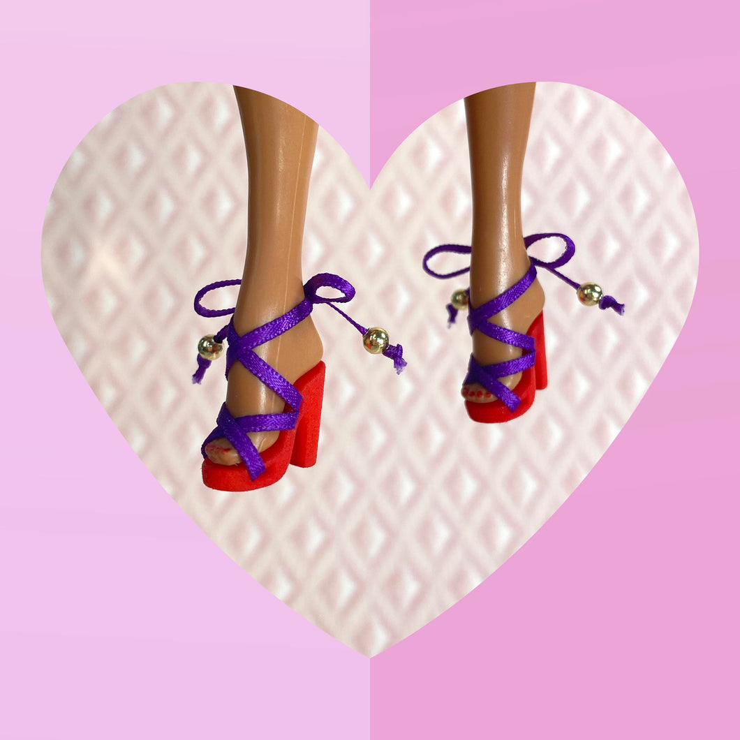 Scandal Sandal in Red & Purple