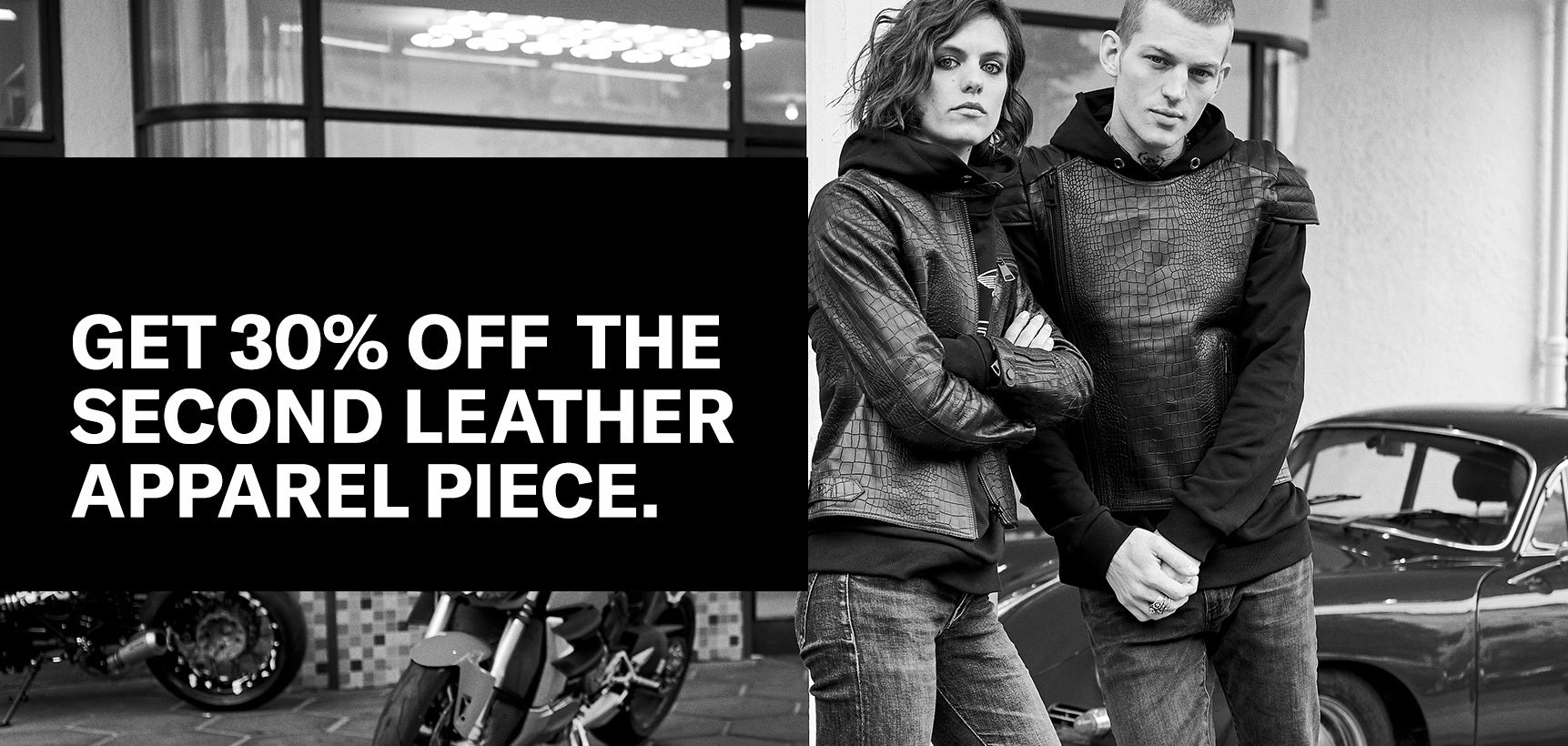 Get 30% off the second Leather Apparel piece