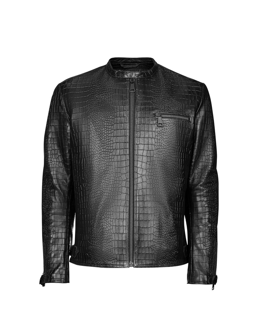 Crocodile Embossed Biker Jacket Man - Taveri