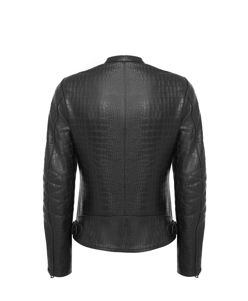 Crocodile Embossed Biker Jacket Woman - Taveri