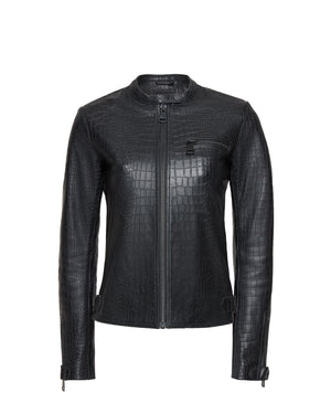 Crocodile Embossed Biker Jacket Woman