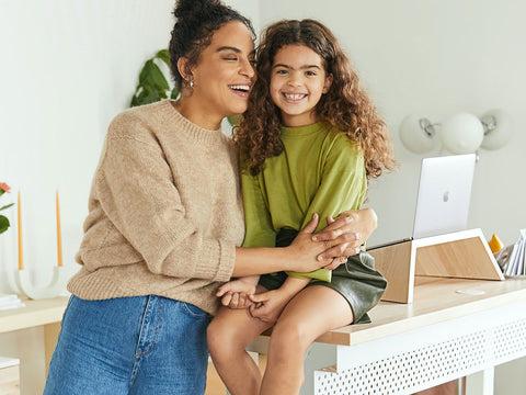 An image of a child and person in a clean home.