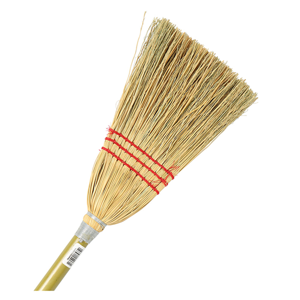 Lobby Corn Broom with black handle and swivel top