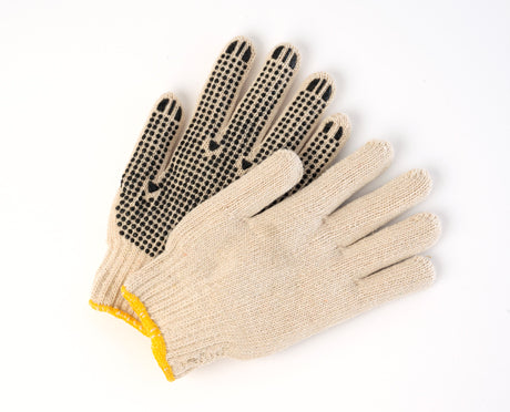 Poly/Cotton knit gloves with palm dots.- 12 pairs