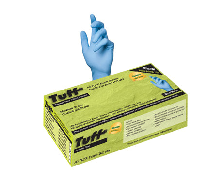 Blue Hybrid Vinyl/Nitrile Gloves - Powder Free - 100/box