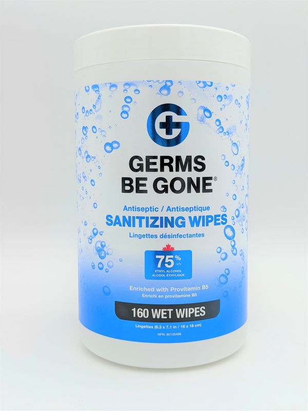 Germs Be Gone 75% Alcohol Tube wipes - 160 Count
