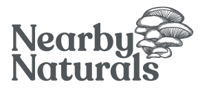 nearby naturals logo with oyster mushroom