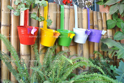 Metal Butterfly Bucket with handle