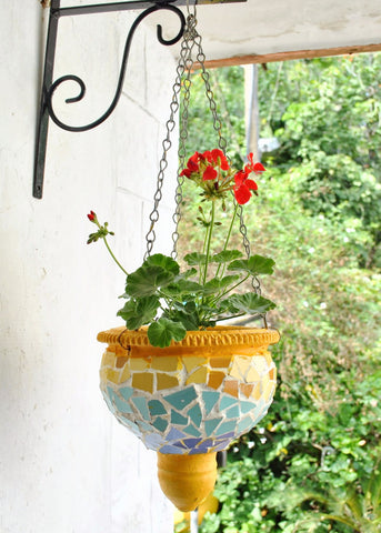 Mosaic & Terracotta Hanging Pot with chain (Bangalore Only)