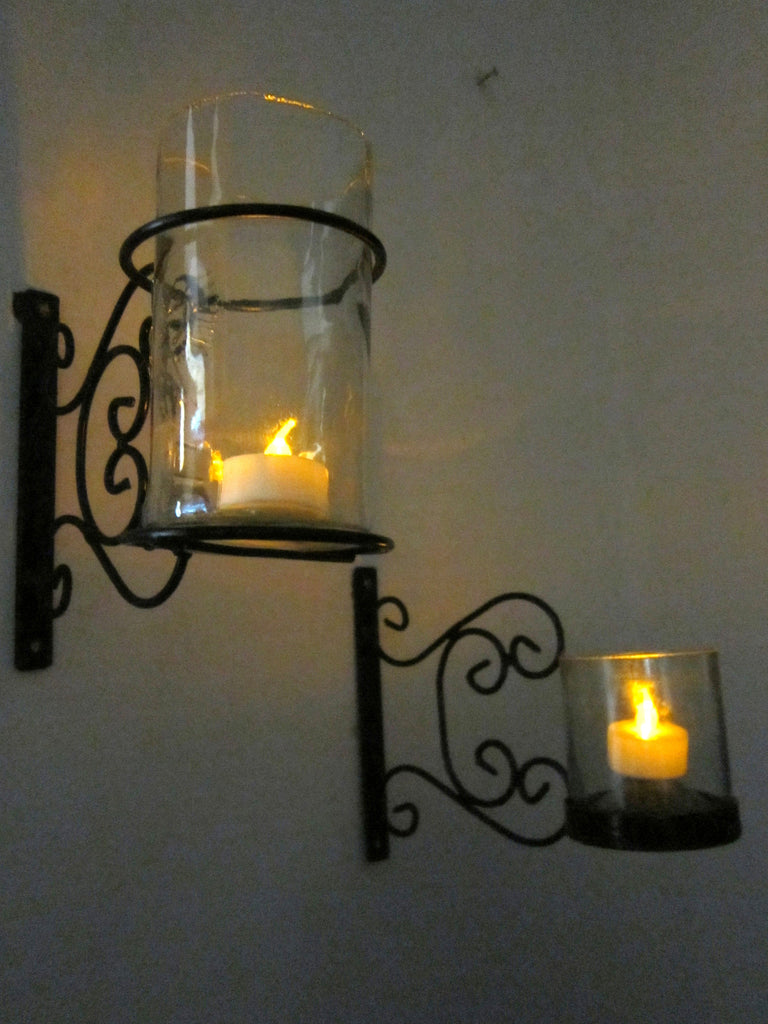 Wrought Iron glass lamp holder with lamp and tea light
