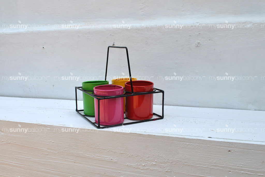 Wrought Iron and metal Chai Stand Pots (Large)