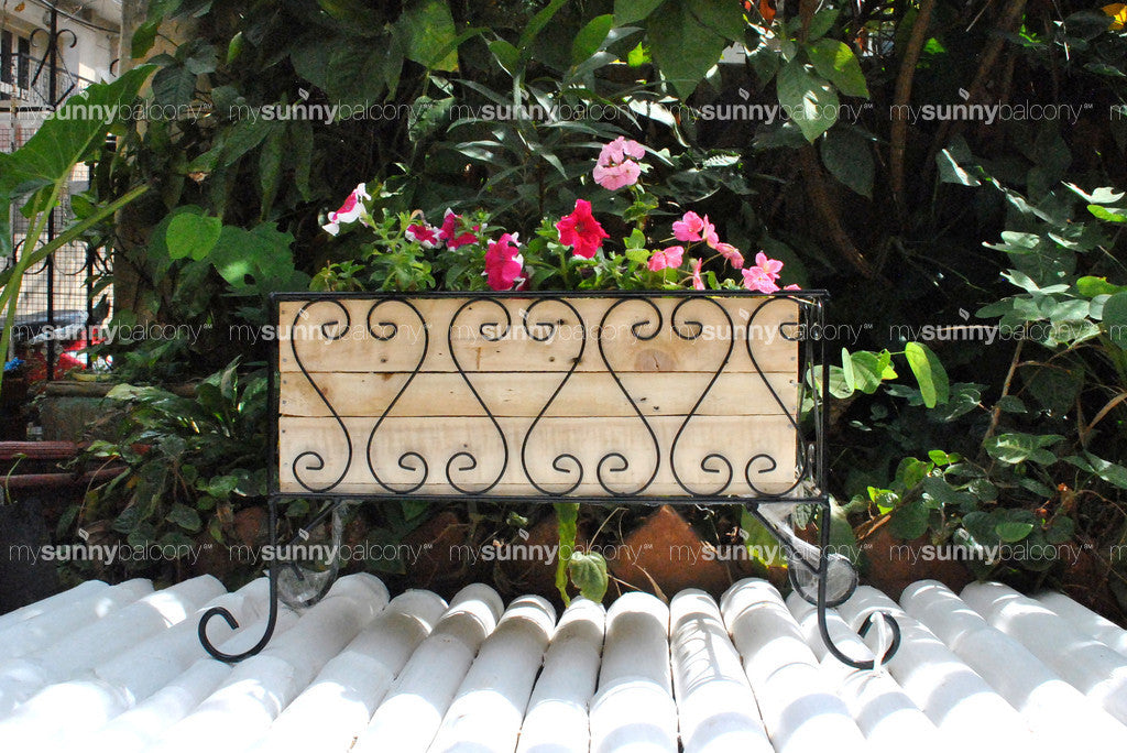 Wrought Iron long planter stand with wooden filler box