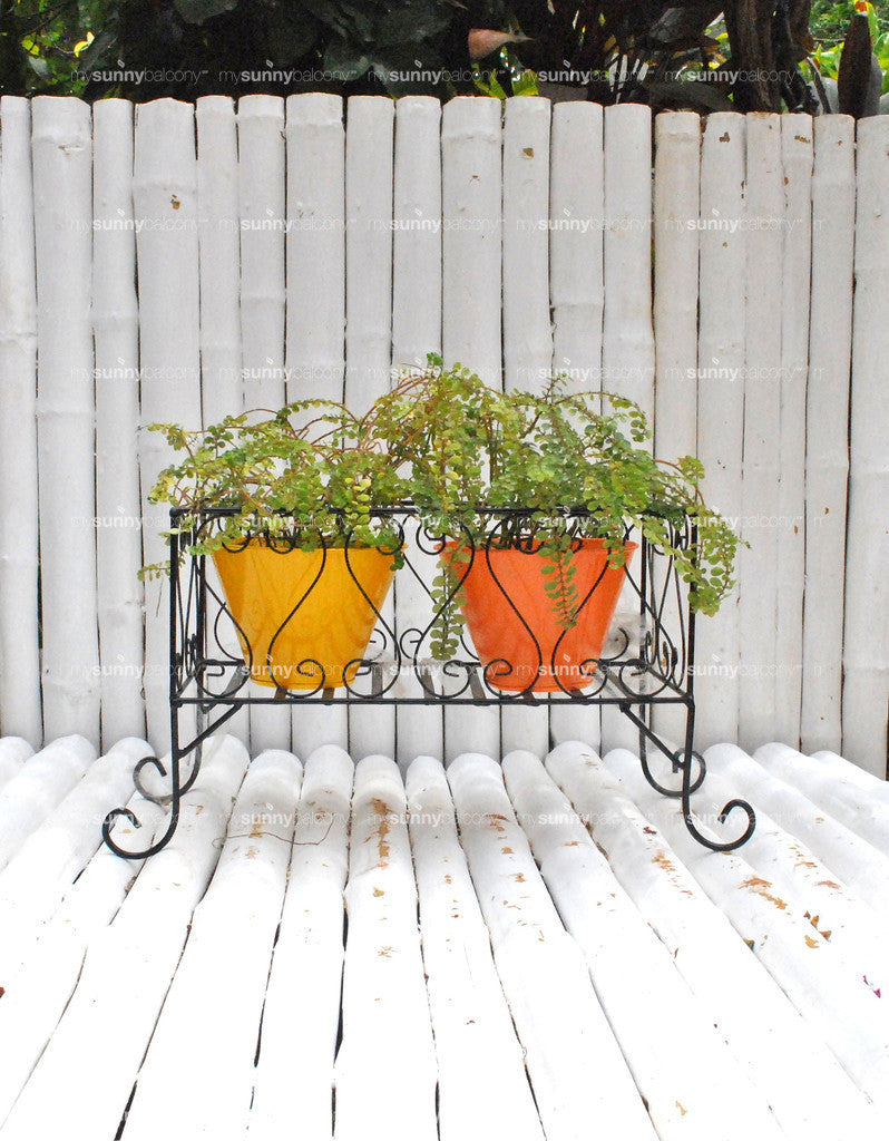 Wrought Iron long planter stand with metal filler pots