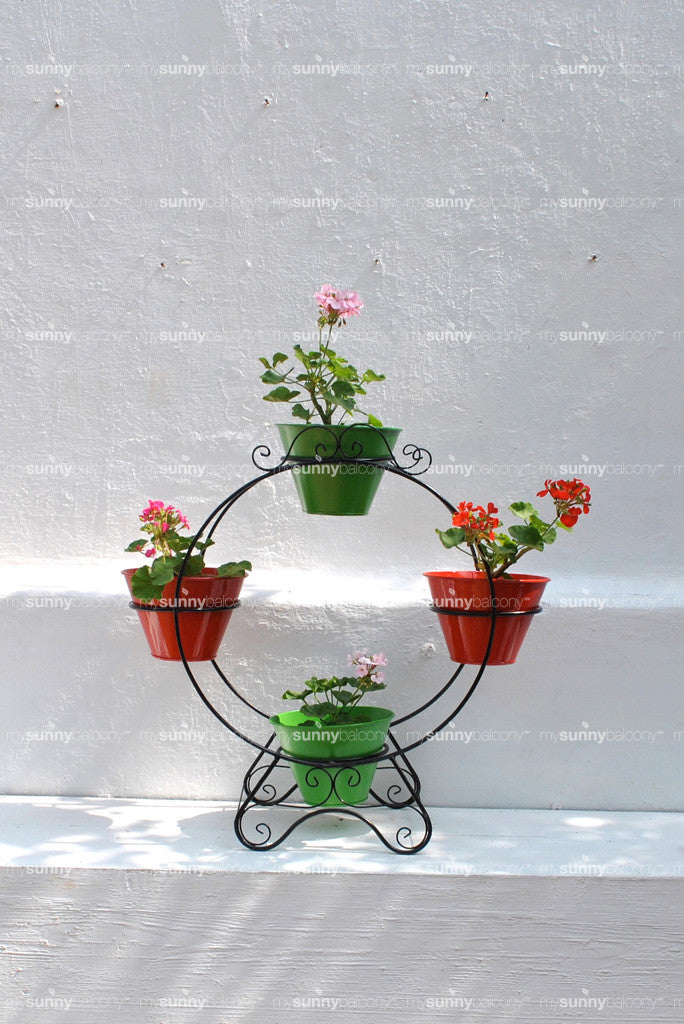 Wrought Iron Herb Hoop with metal pots