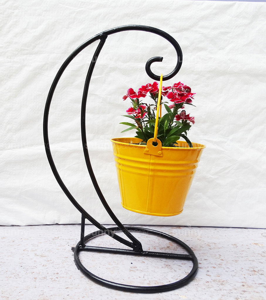 Wrought Iron Table Top Pot Holder With Metal Bucket Pot
