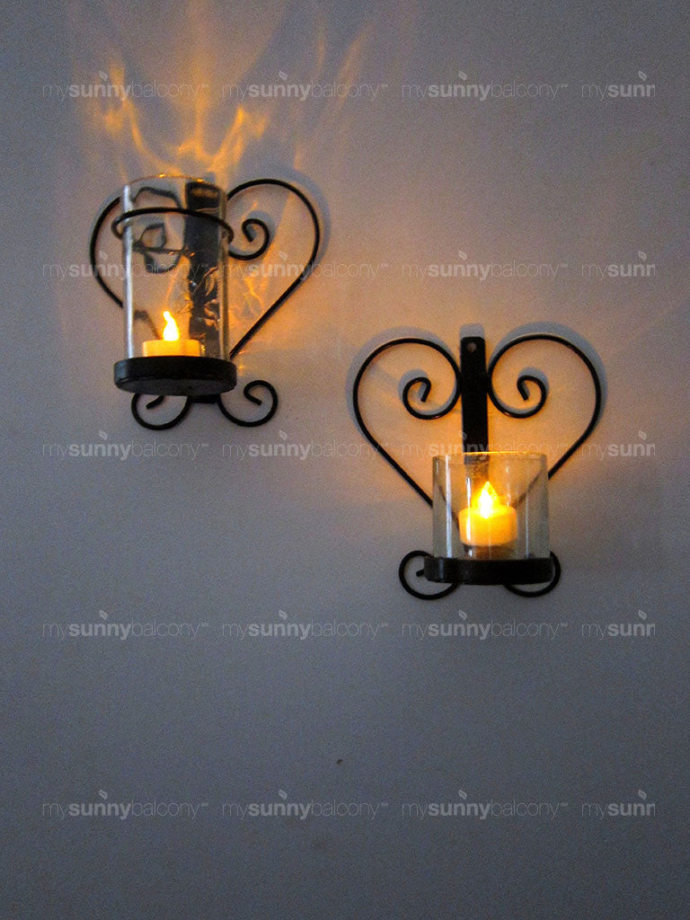 Wrought Iron glass lamp holder with lamp and tea light; Dil Se