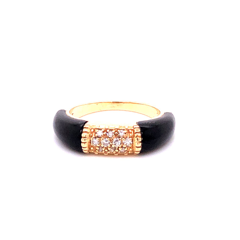 Ring Christ Dia/Onyx Gold 14k