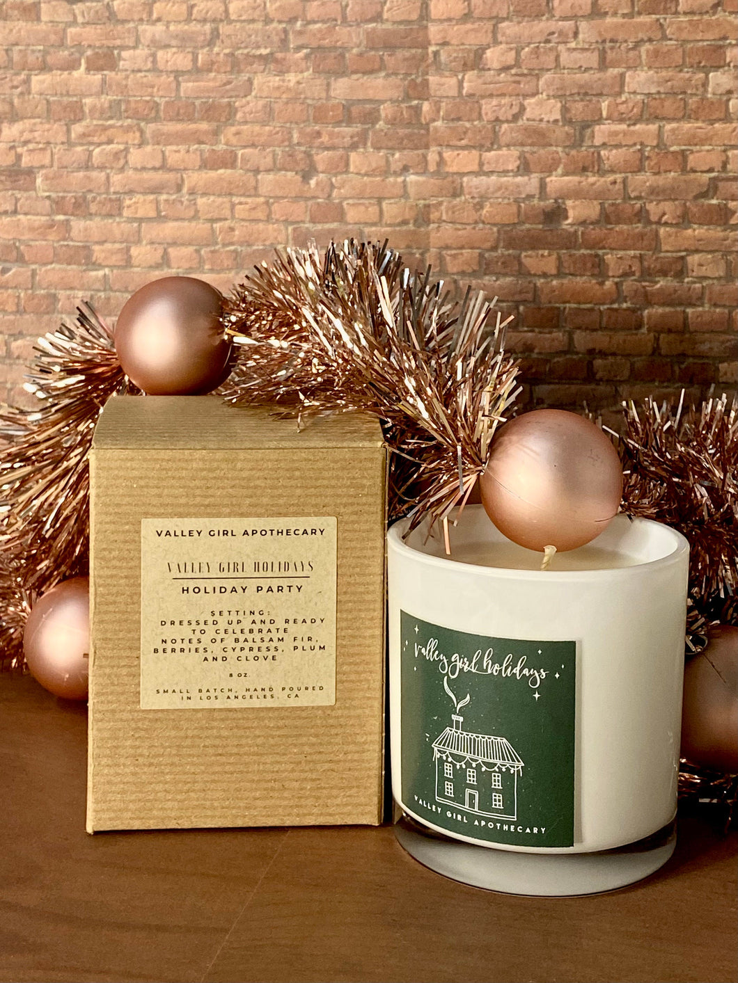 Holiday Scented Soy Candle - Holiday Party - clove, plum, berries, cypress, balsam fir