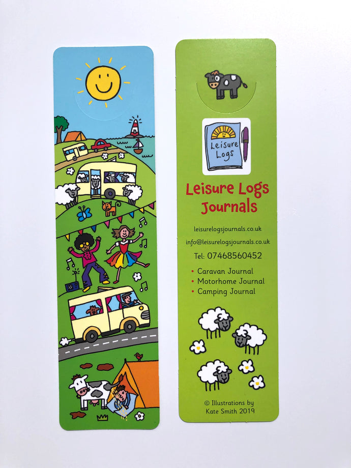 A matching bookmark that will compliment your Leisure Logs Travel Journal, matches all our journals, Caravan, Motorhome and Camping.  The cut-out underneath the sun simply hooks over the top of the page to keep your current page to hand and the cheeky sun will always smile for you.