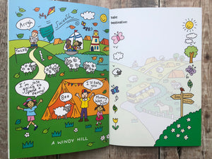 One of our illustrations entitles 'A Windy Hill' the opposite page has a full page illustration that shows a camper van making its way to the camping site.  Down each side of the page are small decorative elements such as butterflies, leaves, flowers and a sheep and a tree.  A signpost points the way to the Sea, Camping Site and the Fish & Chip Shop.