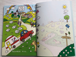 An illustration from our Caravan Journal entitled 'Rewards Hill' that features a car and caravan climbing the hill to go to a little village where there is a pub, cafe, Ice cream and toilets together with a caravan site.  Sheep graze in the surrounding fields.