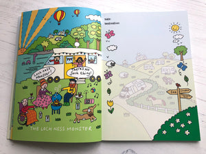 'The Loch Ness Monster' is our nod to our Scottish friends, all sitting round the campfire while 'Nessy' is having a peek at them.  The opposite page shows an illustration that is feint so can be written on to record travels and adventures.  Down each side of the page are small fun elements of flowers, leaves, Butterfield and sheep.  A signpost points the way to the Sea, to London and to the Camping Site.