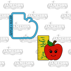 Apple and Ruler Cookie Cutter - Your Rule, Teacher Appreciation, Back To School
